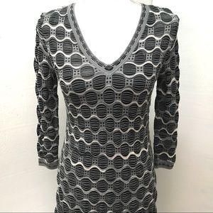 EUC M Missoni Print V-Neck Long Sleeve Knit Dress